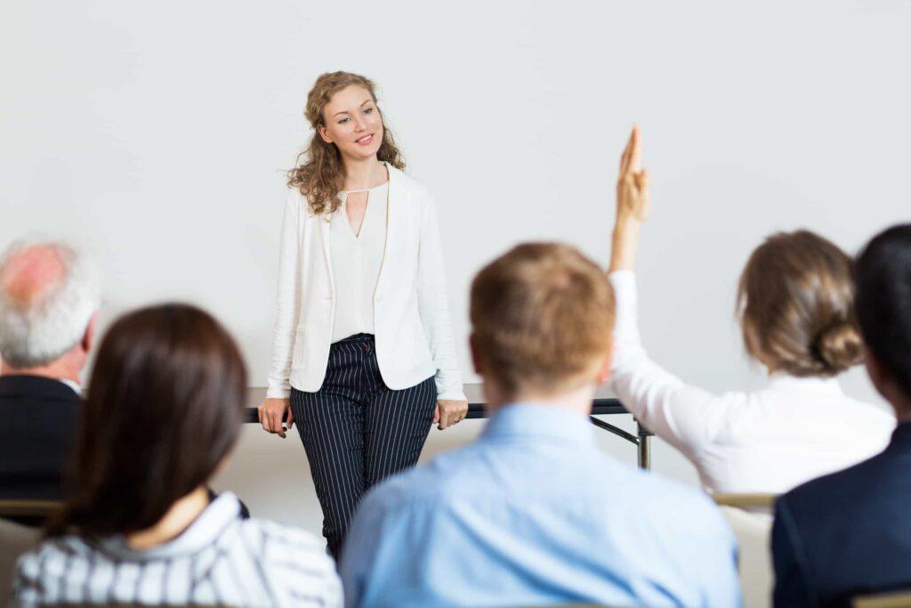 A teacher standing in a class
